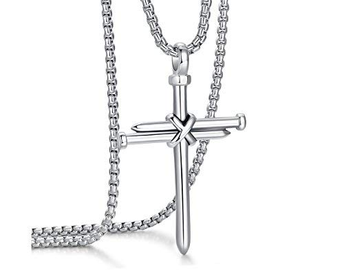 ADoor Men's Stainless Steel Nail Cross Pendant Necklace With 24 Inch Chain for Men -