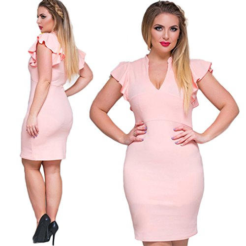 Manches Casual Féminin Midi Élégant V-cou Mince Robe Sexy Taille Plue Rose