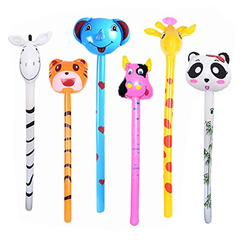 Blow Up Animals (kockuu 6 PCS Inflatable Jungle Animals Stick with Sound - Tiger Zebra Giraffe Elephant Panda Cow - Party Noisemaker Birthday Party Favors Safari Party)