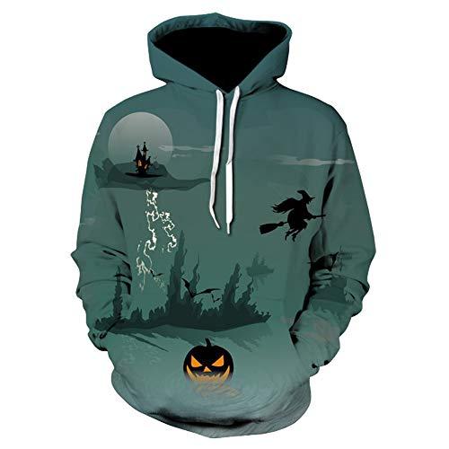 (iLOOSKR Men Women Mode Pumpkin Witch Print Long Sleeve Halloween Couples Hoodies Top Blouse)