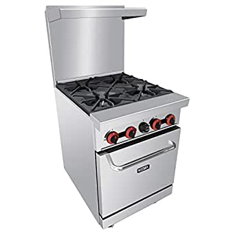 Heavy Duty 4 Burner Gas Range With Standard Oven - Kitma Natural Gas Cooking Performance Group for Kitchen Restaurant, 124,000 BTU