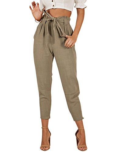 - BerryGo Women's Casual Loose High Waist Stretchy Slim Long Harem Pants Khaki,M