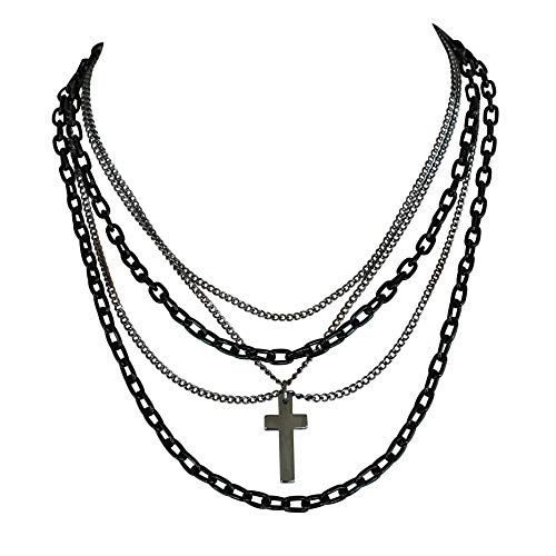 DragonWeave Multilayer Gothic 80s Retro Black and Gunmetal Chain Fashion Necklace with Cross