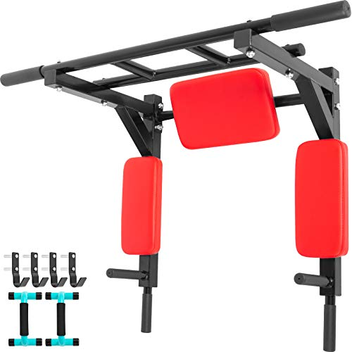Happibuy Wall Mounted Pull Up Bar 2 in 1 Chin-Up Bar Dip Stand Power Home Gym Tower Set for Home Gym Strength Training Equipment for Indoor and Outdoor Use Red