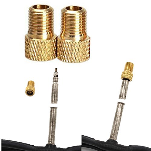 (Little Story  Bike Connector, 2Pc Brass Adaptor Presta to Schrader Bicycle Valve Converter Bike Pump Connector)
