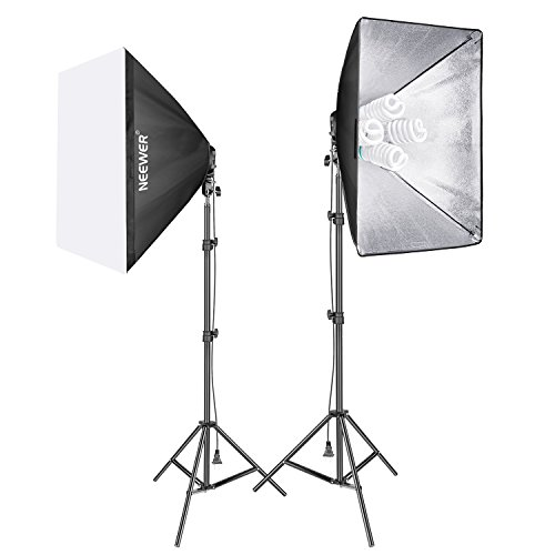 Neewer 1600W Photo Studio Video Softbox Lighting Kit Includes: (2)50 x 70 centimeters Softbox, (2)4-Socket Light Holder, (8)45W Light Bulb, (2)200cm Light Stand, (2)Carrying Case for Portrait Shooting