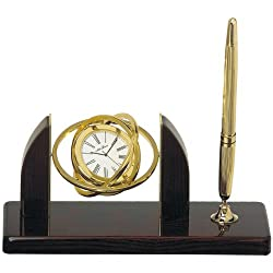 Seth Thomas Euclid White Dial Brown Mahogany Finish and Gold Tone with Pen Desk Clock