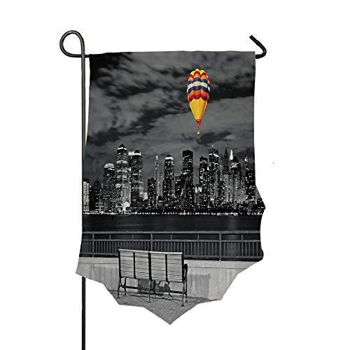 Double Sided 3D Printed Garden Flag,NYC Skyline from Liberty State Park Vibrant Air,Holiday Decorations Outdoor Garden Flag Durable Cotton and Linen -