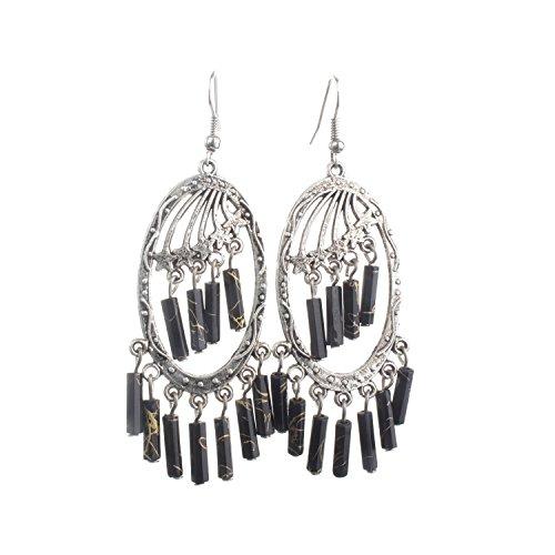 Lureme Bohemian Jewelry Antique Silver Chandelier Pendant Dangle Earrings for Women and Teen Girls (02004290) (Black)