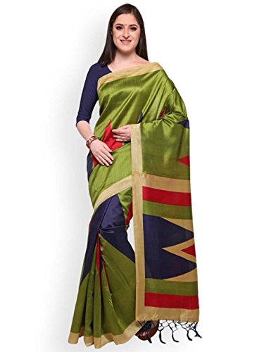 Blissta Green Art Silk Printed Mysore Silk Saree
