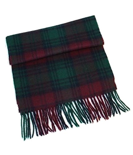 John Hanly Men's 100% Wool Scarf (Lindsay Tartan Wine with Green and Navy (Mens Wool Scarves)