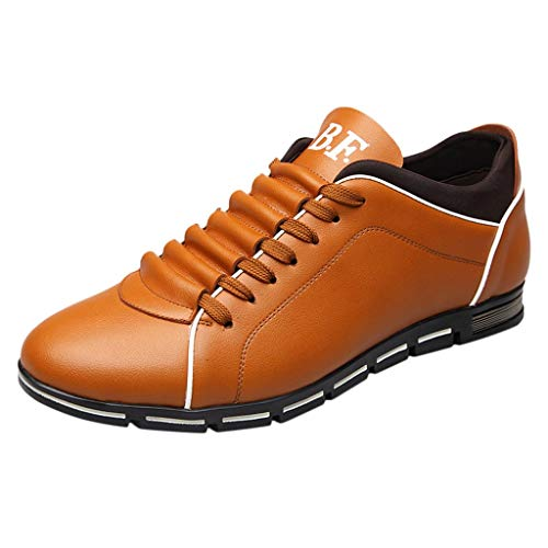 Hunzed Men【Business Casual Leather Shoes】Clearance Men's Brogues Oxford Wingtip Leather Dress Shoes for Business Casual Lace-Up ()