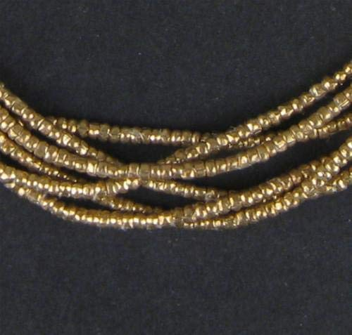 Brass Beads Trade - Brass Heishi Beads - Full Strand Ethiopian Metal Spacers for Jewelry Making - The Bead Chest (2mm)