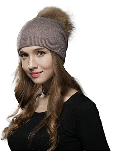 LITHER Winter Kintted Pom Pom Beanie Hats with Real Raccoon Fur Balls (1-Coffee)