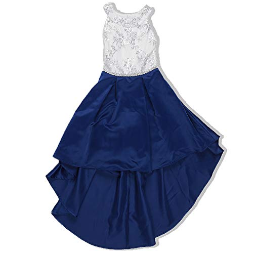 Speechless Girls' Big Circle Neck Party Dress with High-Low Hemline, White/Royal Blue 10 -