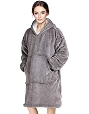 Wearable Blanket Oversized Hoodie Blanket with Hood Pocket and Sleeves Super Soft & Warm Blanket Sweatshirt for Women, Men, Adults and Kids ,One Size Fits All (Gray)