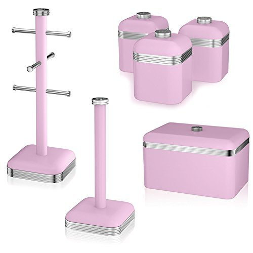 Swan Retro Style 6 Cup Mug Tree Towel Pole 3Pc Canister And Bread Bin Set Pink by Swan by Swan