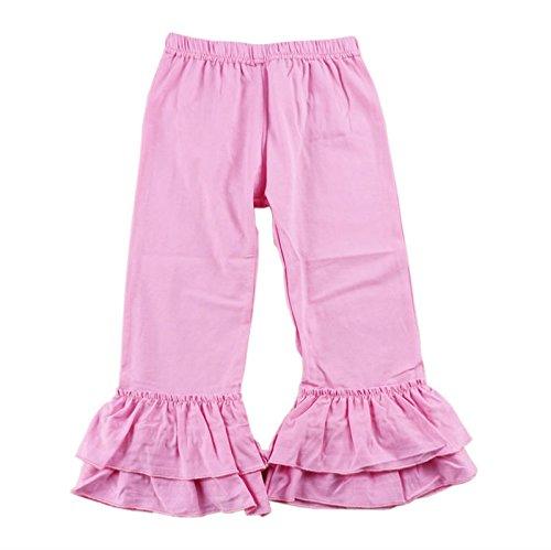 Wennikids Children's Little Girls Ruffle Soft Cotton Flare Pants Medium Pink