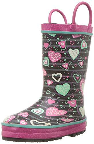 Waterproof Printed Lined Rain Boot with Easy Pull On Handles, neon Hearts 2 M US Little Kid ()