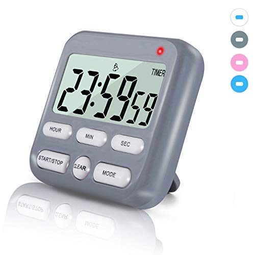 Digital Kitchen Timer with Upgrated 2 Timing Groups, Loud Alarm/Mute Flashing, Super Strong Magnetic Back, 12h Display Clock, On/Off Switch, 24h Count Up & Down for Cooking Sports Games Office.(Grey)