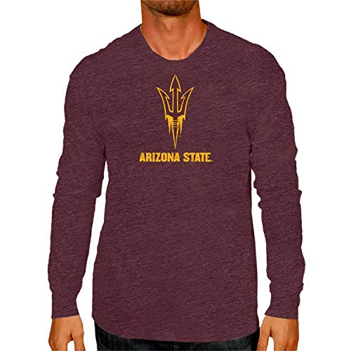 Campus Colors NCAA Adult MVP Heathered Logo Long Sleeve Shirt (Arizona State Sun Devils - Maroon, Adult Medium)
