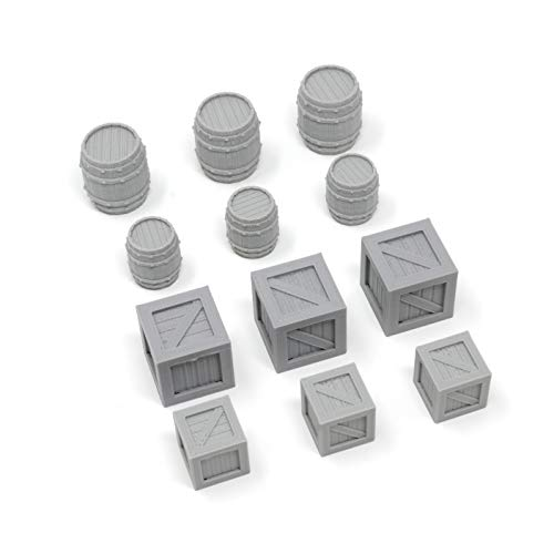 Arctic 3D 12 Pack Square Wooden Crates and Barrels Miniature Model Combo Set 28mm for Dungeons & Dragons, Pathfinder, RPG, Wargaming, Tabletop, Terrain, Dwarven Forge (Large & Small)