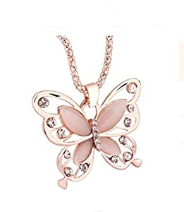 Clearance Necklace,Han Shi Fashion Rose Gold Plated Opal Butterfly Pendant Sweater Chain (Gold, L)
