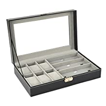 Watch Display Box - SODIAL(R) PU Leather 6 Grid 3 Sunglass Watch Display Box Case Storage Organizer Black