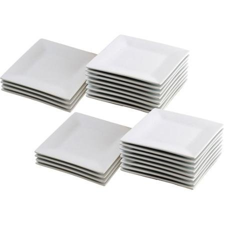 24-Piece 6'' Square Appetizer Plates, White