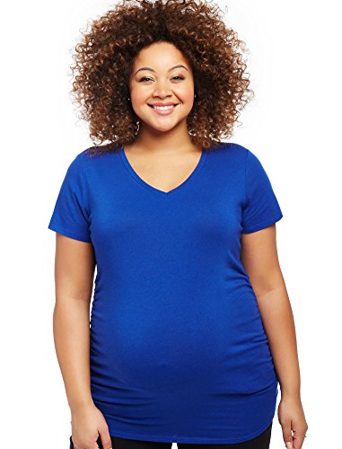 [Motherhood Plus Size Side Ruched Maternity T Shirt] (Motherhood Maternity T-shirt)