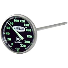 MAN LAW BBQ Stainless Steel Instant Read Gauge Thermometer with Glow in the Dark Dial, 1.6-Inch Diameter