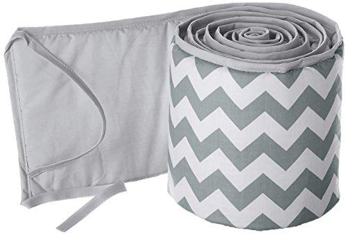 Babykidsbargains Chevron Round Crib Bumper, Grey ()