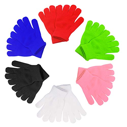 Kids Warm Magic Gloves 12 Pairs Boys Knit Gloves Girls Winter Solid Finger Gloves(7 to 16 years old) (Rainbow1) (Ice Skating Mittens)