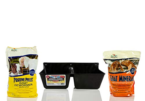 Little Giant Mineral Feeder, 3.5-Quart with Manna Pro Goat Mineral Supplement, 8 lb and Manna Pro Positive Pellet Goat Dewormer