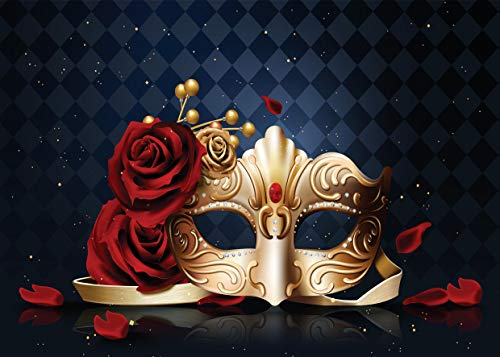 Custom Masquerade Mask - WOLADA 7x5ft Masquerade Mask Photo Backdrop Rose Flower Golden Mask Framed Mask Photography Backdrops Dark Retro Rhombus Marble Wall Background Girl and Boy Party Decoration Children Backdrops 11455
