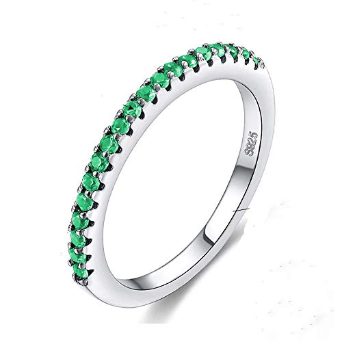 Multicolor CZ Simulated Diamond Platinum Plating Stackable Ring Pave Eternity Bands for Women (Green, 7)