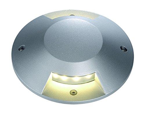 SLV Lighting 4227372U Big LED Plot Round Cover For LED Insert, 2 Slots, Silver Grey Finish