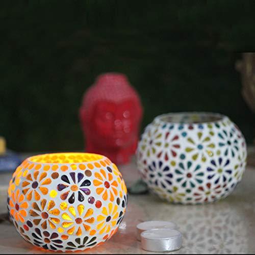 Karguzzari Crackle Glass Candle Holder Votive T Light Holder Home Décor Lighting Gift Tlight Set of 2 (VOT-54X54)
