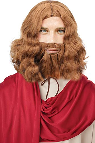 Verabella Men's Jesus Wigs and Beard Set for Halloween Cosplay Costume, Light Brown for $<!--$16.99-->