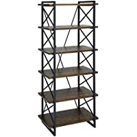 Furniture of America Linley IV Industrial 6 Shelf Bookcase in Oak