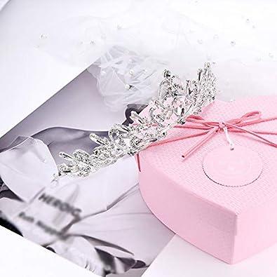 Qifumaer Cristal Couronne avec Strass Peigne pour Couronne De Mari/ée Proms De Mariage Concours Princesse Parties Anniversaire