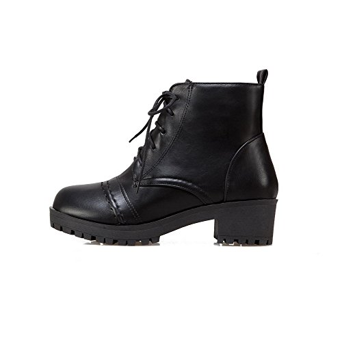 AgooLar Women's Lower Pile Lace-up Round-Toe Kitten-Heels Solid Boots Black nIo3Isxg