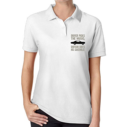 LINNA Women's Super Television Natural Driver Picks The Music Polo Tee Personality Business Affairs Size XL White