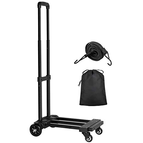 KEDSUM Folding Hand Truck, 155 lbs Heavy Duty Luggage Cart, 4 Wheels Solid Construction, Portable Fold Up Dolly, Compact and Lightweight for Luggage, Personal, Travel, Moving and Office Use from KEDSUM