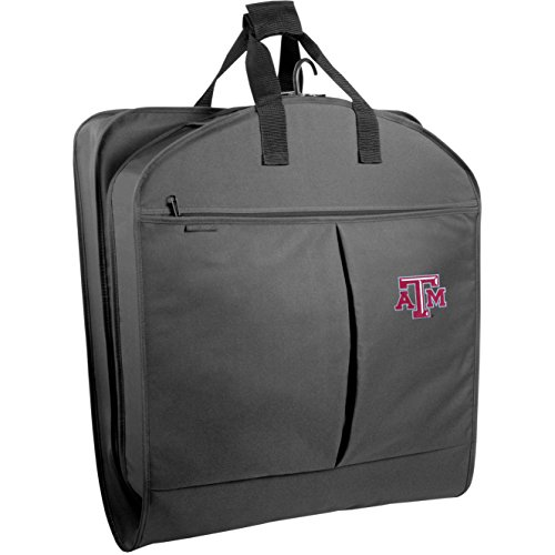 (WallyBags Texas A&M University Aggies 40 Inch Suit Length Garment Bag with Pockets, Black, One Size)