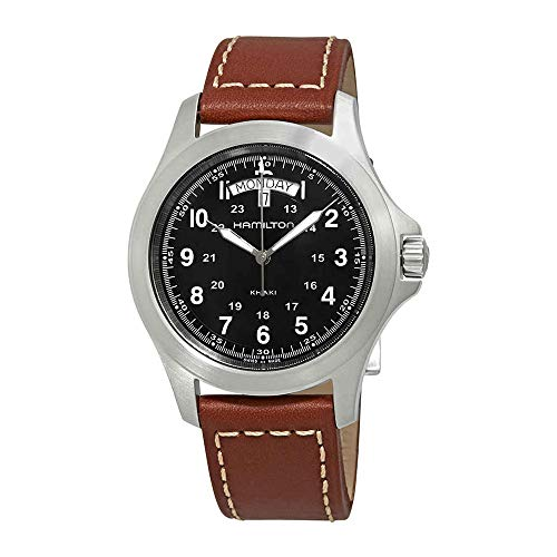 Hamilton Khaki King Men's Brown Strap Black Dial Stainless Steel Watch H64451533