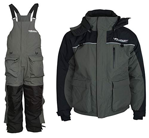 WindRider Ice Fishing Suit   Insulated Bibs and Jacket   Flotation   Tons of Pockets   Adjustable Inseam   Reflective Piping   Waterproof Gear for Ice Fishing and Snowmobiling (Large)