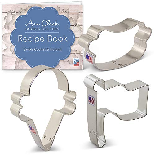 - Summer Party Cookie Cutter Set with Recipe Booklet - 3 piece - Ice Cream Cone, Hot Dog and Flag - Ann Clark - USA Made Steel