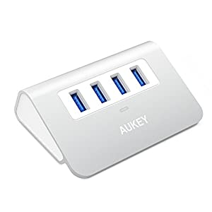 AUKEY USB Hub 3.0, Portable Aluminum 4 Port USB 3.0 Hub for Data Transfer with 1.6ft USB Cable for MacBook Air, Mac mini, iMac, Laptop, PC, USB Flash Drives, HDD Hard Drive (Silver)