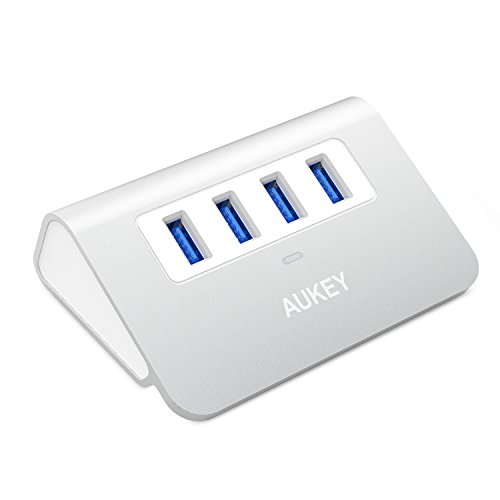 AUKEY USB Hub 3.0, Portable Aluminum 4 Port USB 3.0 Data Hub